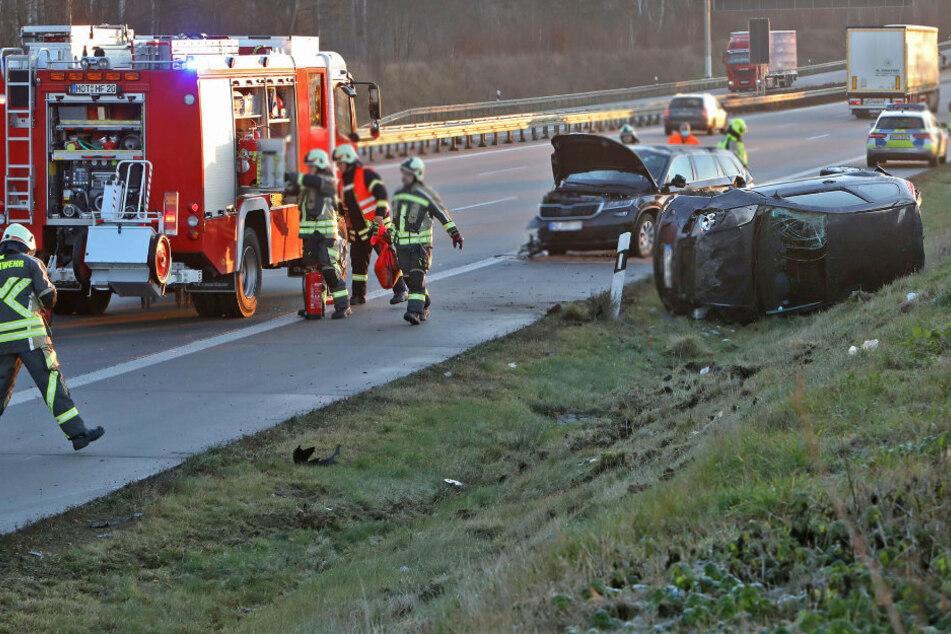 Zwei Verletzte bei heftigem Crash auf A4 Richtung Dresden