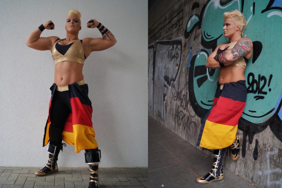 Die Wrestlerin ist 1,80 Meter groß, hat einen Oberarmumfang von 40 Zentimetern und bringt ein Kampfgewicht von 95 Kilo auf die Waage. (Fotomontage)