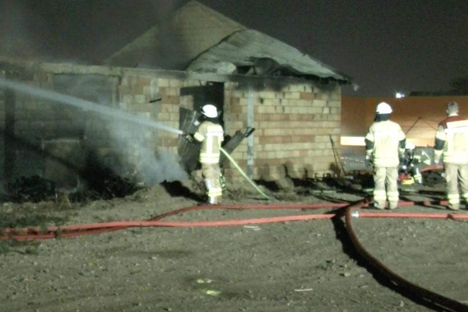 Das Foto zeigt Einsatzkräfte der Feuerwehr bei den Löscharbeiten in Grünstadt.