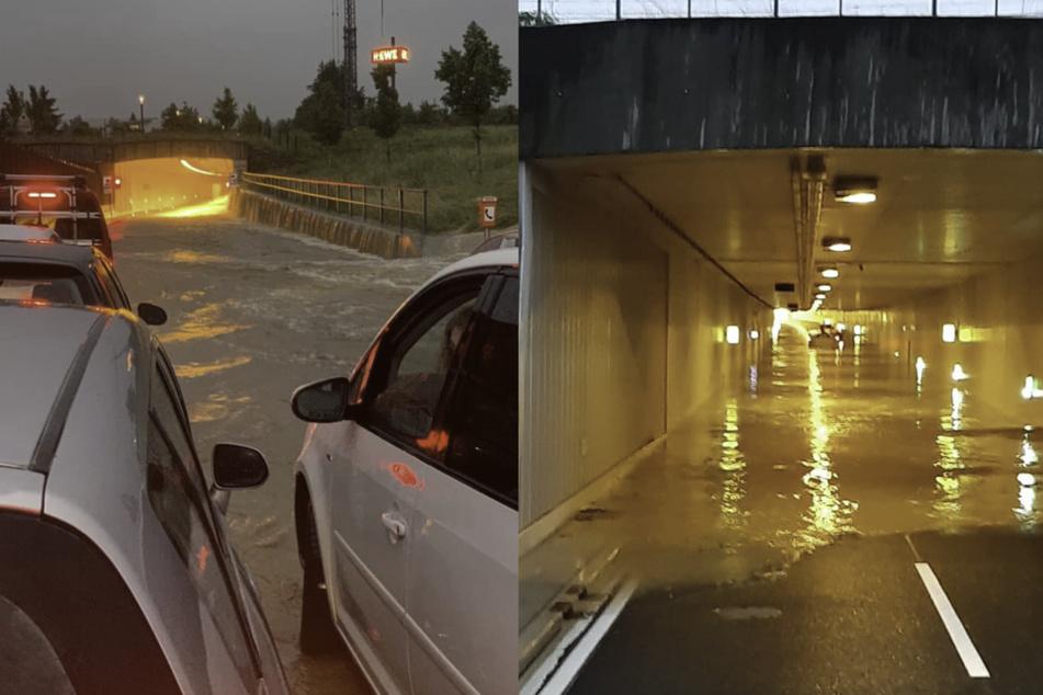 Die Freiwillige Feuerwehr Dußlingen postete auf Facebook Bilder von dem überfluteten B27-Tunnel, aus dem zwei Männer gerettet werden mussten.