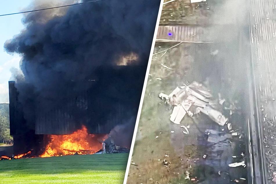 Heftige Szenen nach einem Flugzeugabsturz in Farmington, Connecticut.