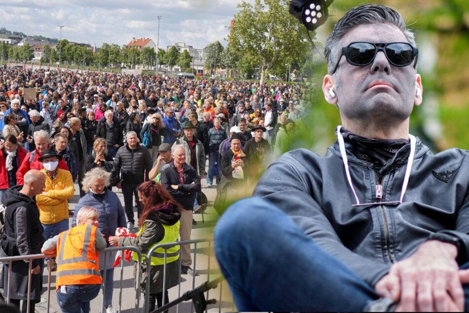 Am vergangenen Wochenende kamen Tausende auf den Wasen (links), am Samstag hat Ken Jebsen (rechts) sein Kommen angekündigt. (Montage)