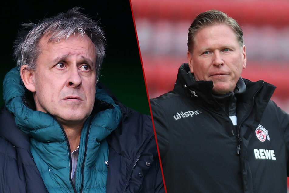 Pierre Littbarski (60, l.), der lange Jahre beim 1. FC Köln gespielt hat, verteidigt Trainer Markus Gisdol (51) im Abstiegskampf.