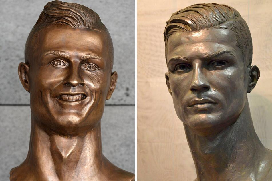 """Ist der Klum-Kopf mit """"Cristiano Ronaldo I"""" (li.) vergleichbar oder nähert sich der Topmodel-Kopf eher an die überarbeitete """"Cristiano Ronaldo II""""-Statue (re.) an?"""
