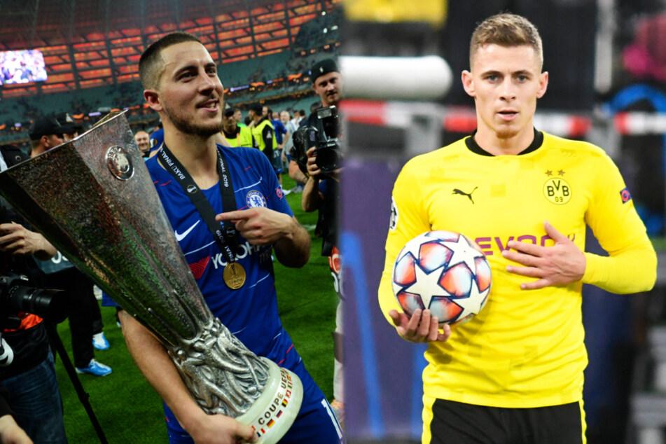 Eden (30, l.) und Thorgan Hazard (27) sind sportlich bislang deutlich erfolgreicher als ihr kleiner Bruder Kylian (25).
