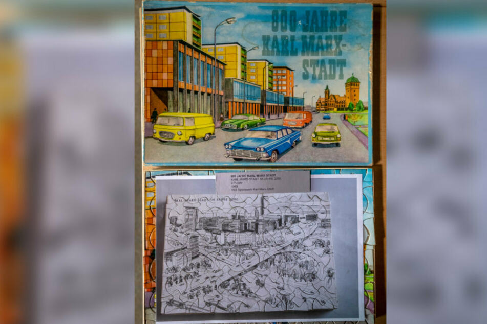 Im Archiv des Spielemuseums findet sich auch ein Karl-Marx-Stadt-Puzzle-Spiel aus dem Jahre 1965.