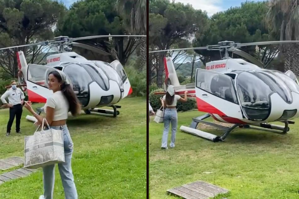 Der Helikopter in Saint Tropez ist abflugbereit. Zeitgleich haben in Deutschland Rettungshubschrauber nach Vermissten gesucht. (Fotomontage)