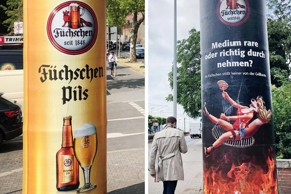 Die Kombo zeigt ein neues Werbeplakat einer Düsseldorfer Hausbrauerei (links, vom 13.07.2019) und das in die Kritik geratene vorherige (Archivbild).