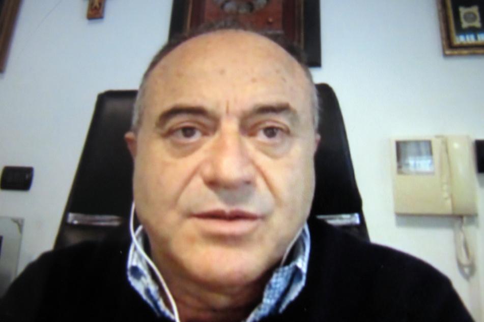 Die Aufnahme von einem Monitor zeigt Nicola Gratteri aus Catanzaro, Staatsanwalt in der Regionalhauptstadt Kalabriens und führender italienischer Anti-Mafia-Ermittler.
