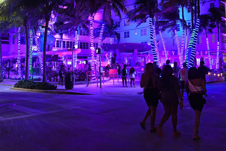 Ocean Drive at night during Spring Break on March 11, 2021, in Miami, Florida.