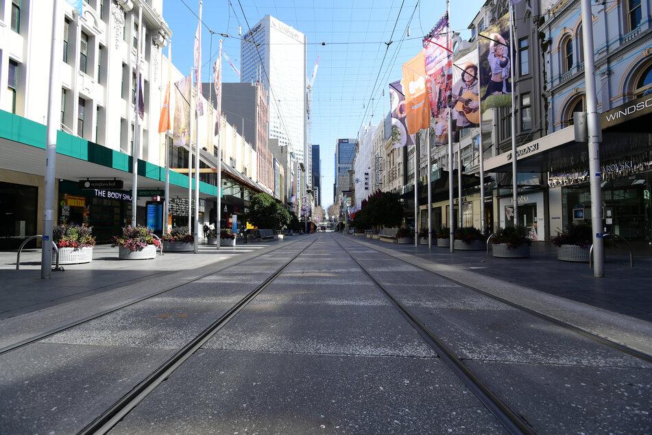 Blick in die fast menschenleere Innenstadt Melbournes.