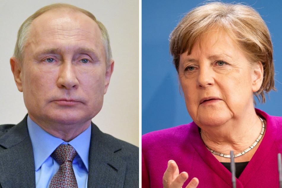 Wladimir Putin, Präsident von Russland und Bundeskanzlerin Angela Merkel (66, CDU). (Bildmontage)