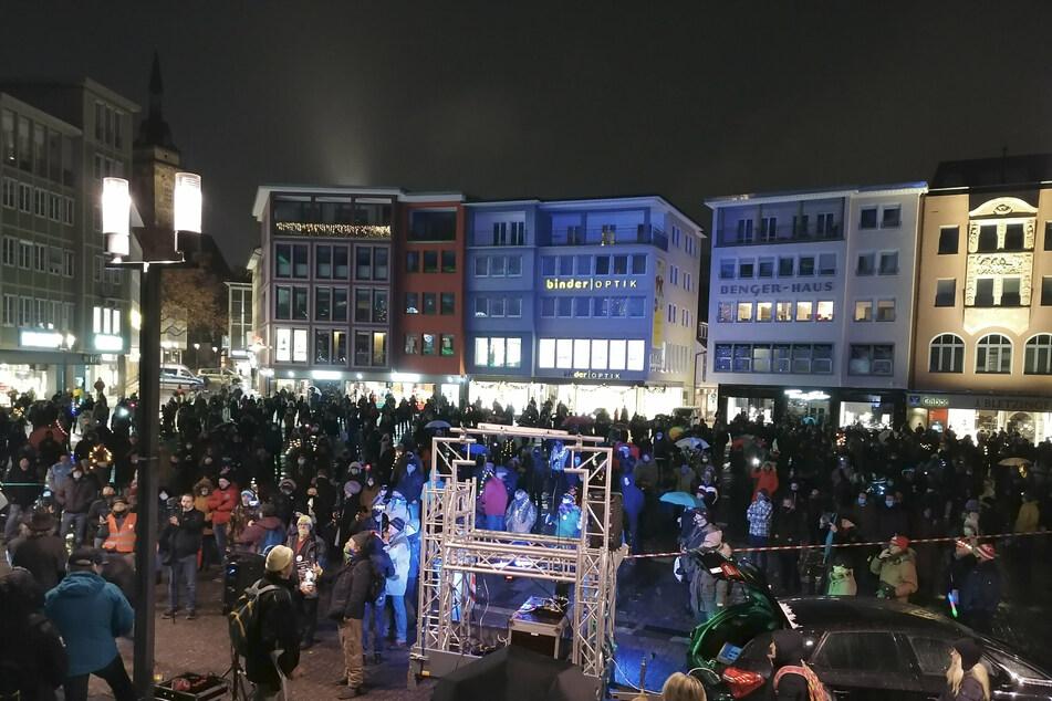 Die Demonstration auf dem Marktplatz in Stuttgart.