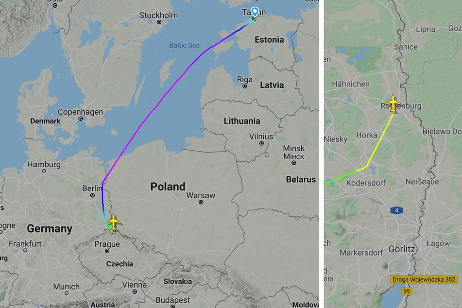 Diese Route flog der A320 am Montag von Tallin (Estland) nach Rothenburg im Landkreis Görlitz.