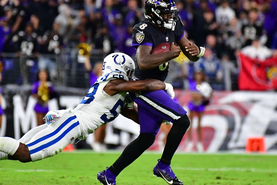Ravens quarterback Lamar Jackson scored four touchdowns in Baltimore's win over Indianapolis on Monday night.