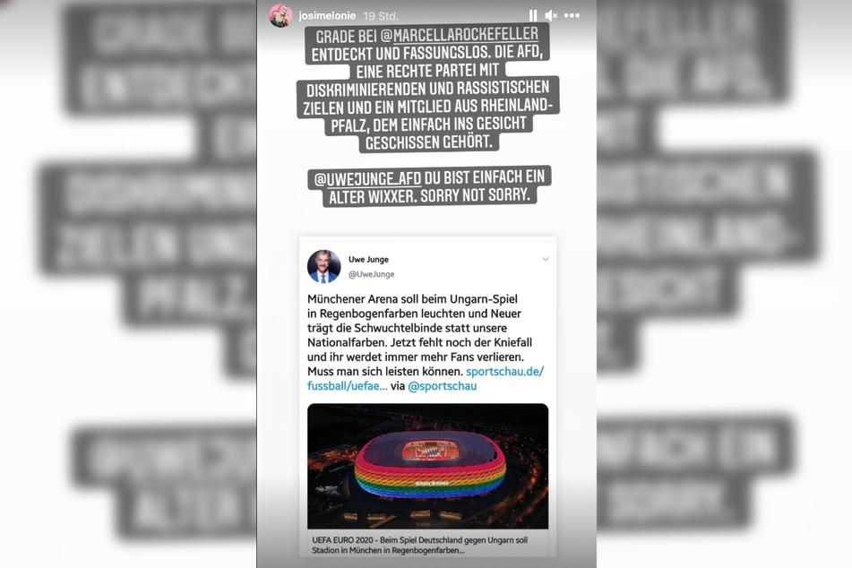 In einer Instagram-Story vom Montag entrüstete sich Josimelonie (27) mit äußerst deftigen Worten über den umstrittenen AfD-Politiker Uwe Junge (63).