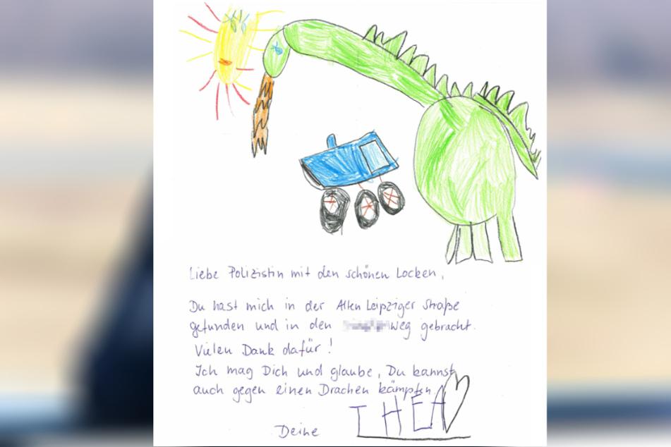 Der Brief, den die kleine Thea für die Polizistin schrieb.