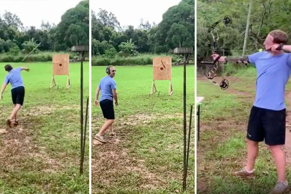 Mark Zuckerberg showed off his impressive handing of a bow and arrow and spear on Instragram.