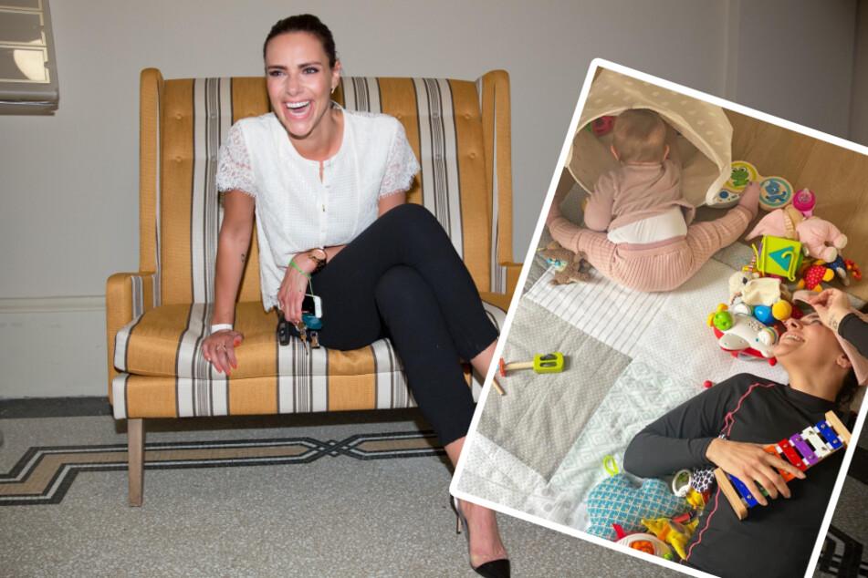 Esther Sedlaczek präsentiert ihr süßes Mama-Tochter-Sportprogramm