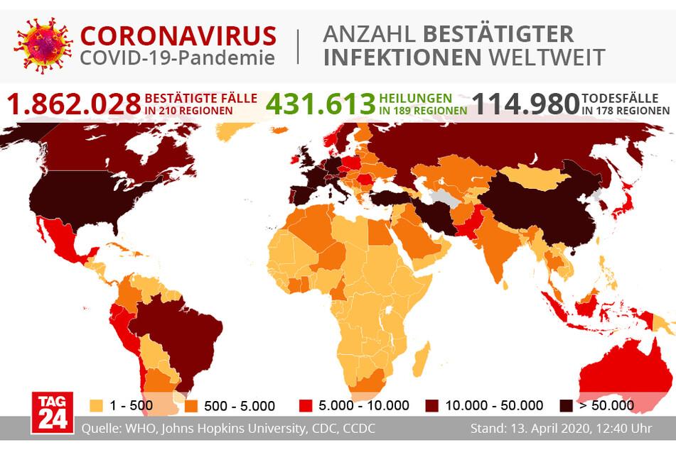 Eine Übersicht über alle Fälle, Heilungen und Todesfälle der Welt. (Stand 13. April, 12.40 Uhr)