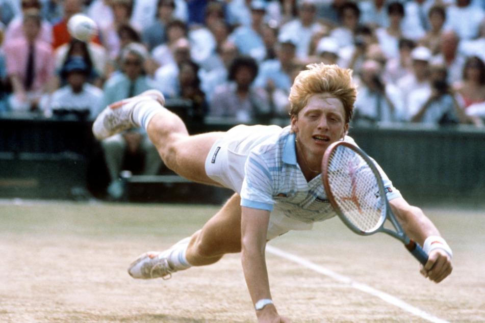Boris Becker (hier 17) beim damaligen Wimbledon-Turnier in Großbritannien, 1985.