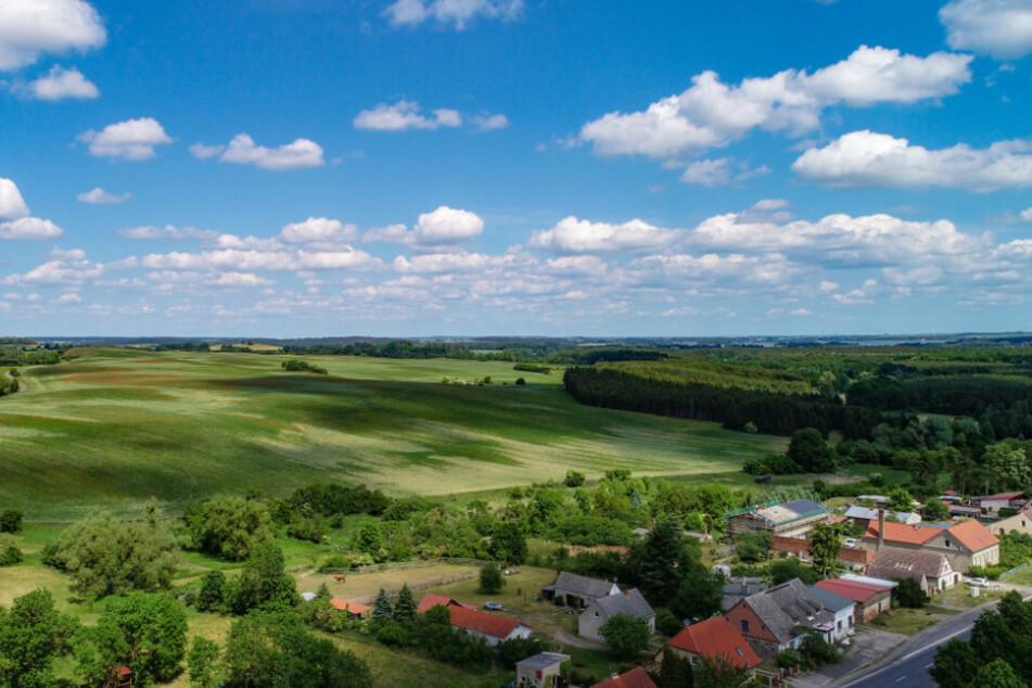 Blick über das Dorf Stegelitz im Landkreis Uckermark.
