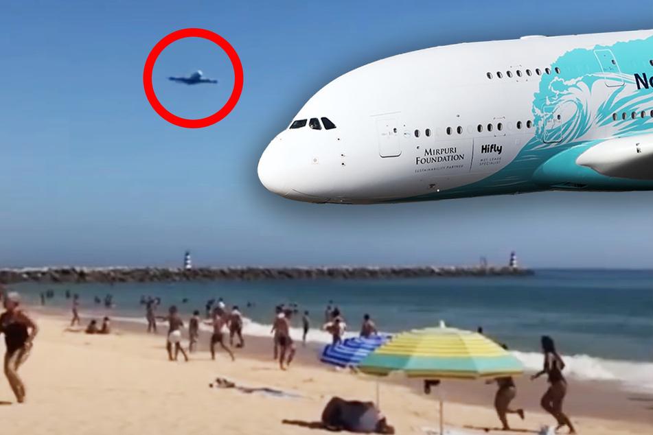 Jumbo-Jet nimmt Kurs auf Strand: Touristen erschrecken sich und fliehen!