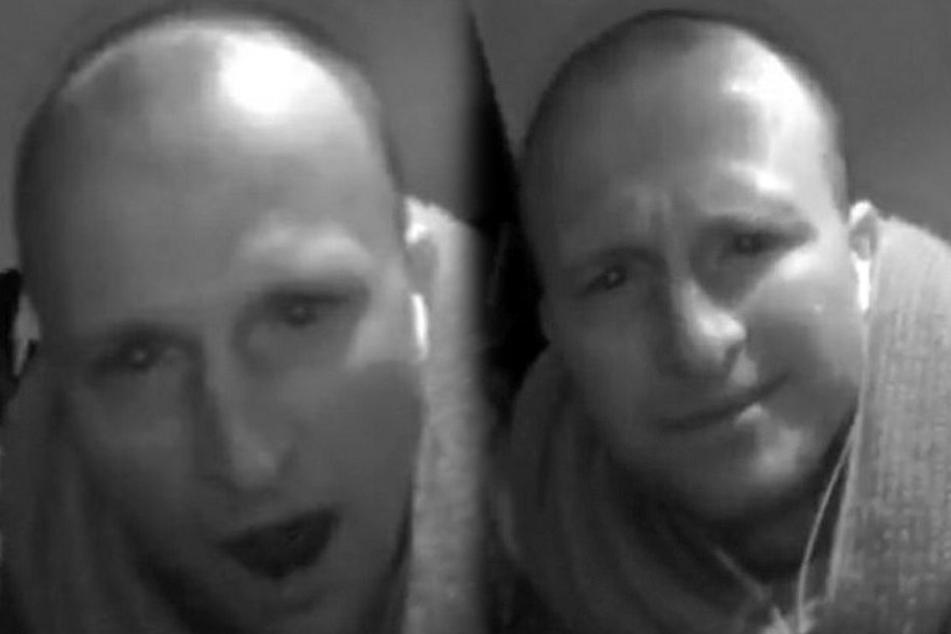 Fahndungsbilder: Als er die Kamera entdeckt, bleibt dem Einbrecher vor Schreck der Mund offen stehen (F.l.). Mit dümmlichem Grinsen baut er sodann die Kamera ab (F.r.). (Bildmontage)
