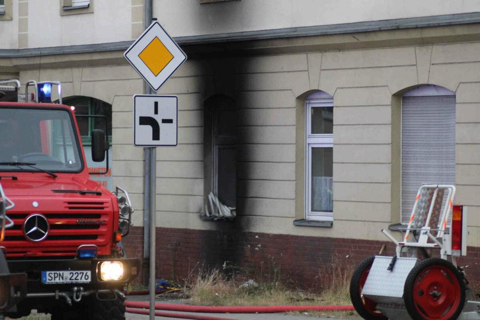 Die beschädigte Fassade des Hauses. Der Ursprungsort des Brandes lag im Keller.