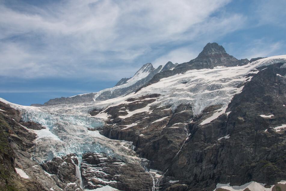 Das Foto zeigt den Oberen Grindelwald Gletscher bei Grindelwald in den Berner Alpen (Schweiz). Der Klimawandel lässt die Gletscher in den Alpen schwinden.