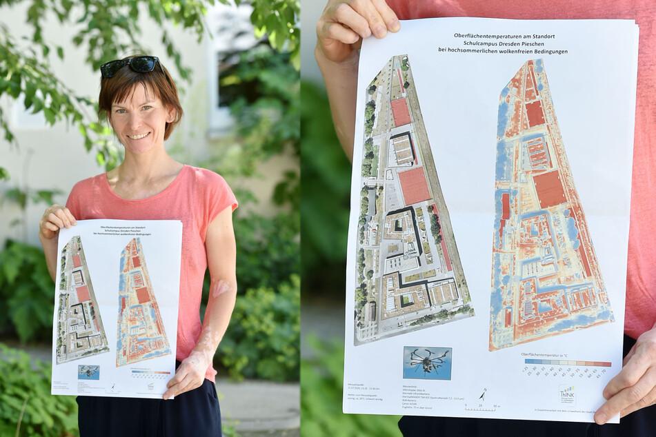 Franziska Reinfried (41) vom Umweltamt zeigt eine Wärmebelastungskarte, die mit den Daten erstellt wird.