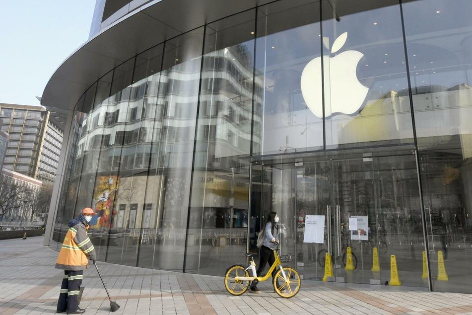 Ein bereits geschlossener Apple-Store in Peking.