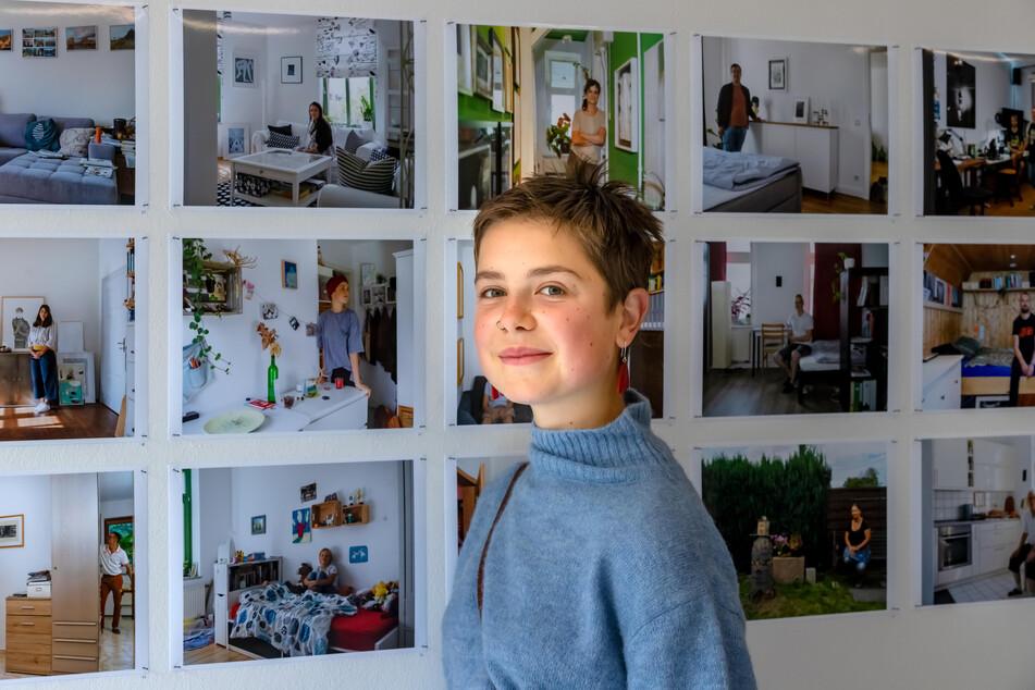 """Hobby-Malerin Lene Sternkopf (16) möchte Hebamme werden. In ihrem Zimmer hängt das Bild """"Im Traum"""", in der Galerie ein Foto davon."""
