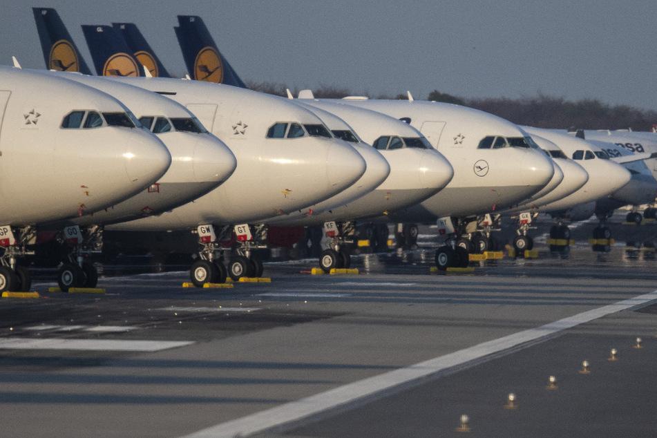 Bis auf weiteres außer Dienst gestellten Passagiermaschinen der Lufthansa sind auf der Landebahn Nordwest am Flughafen geparkt.