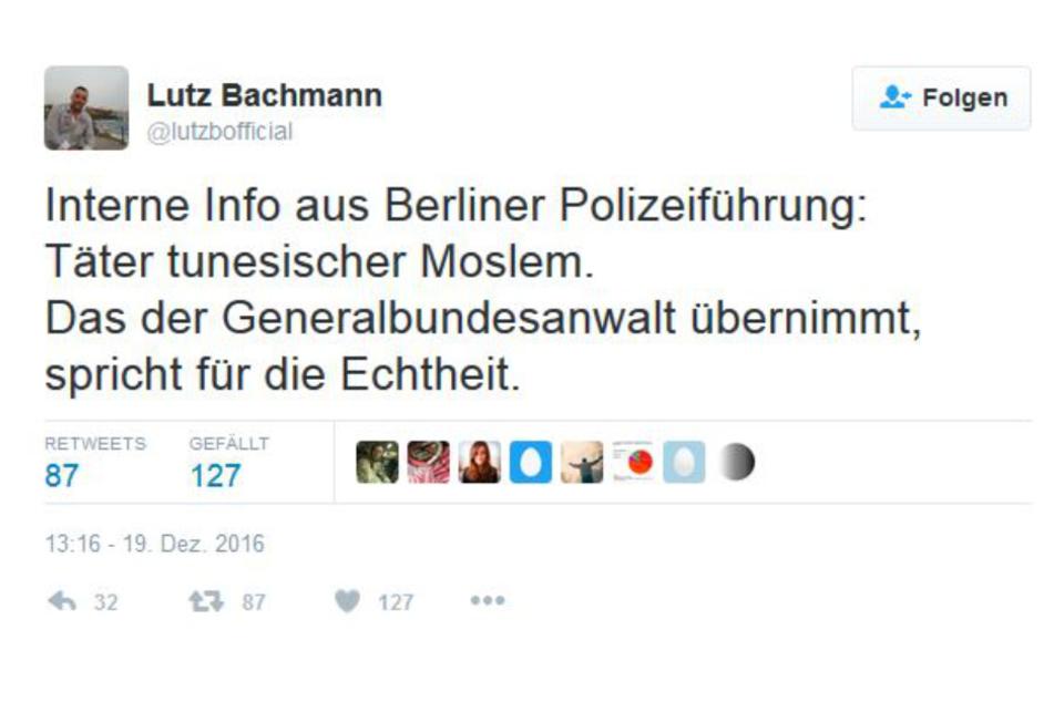 Wegen diesem Tweet muss Lutz Bachmann (47) jetzt nach Berlin.