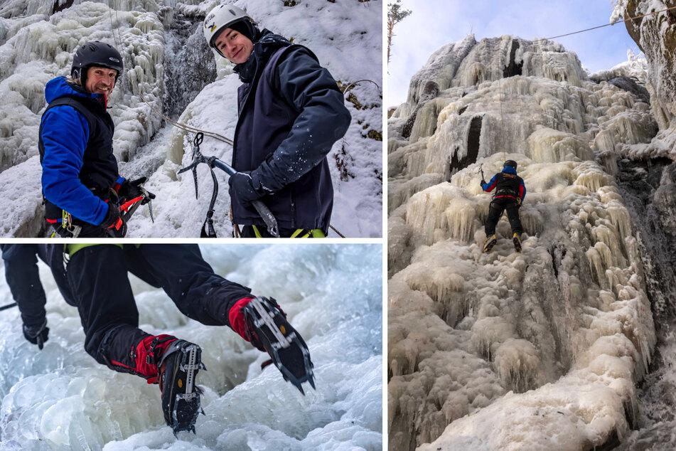 Ein Paradies für Eiskletterer: Sachsens größter Wasserfall komplett eingefroren