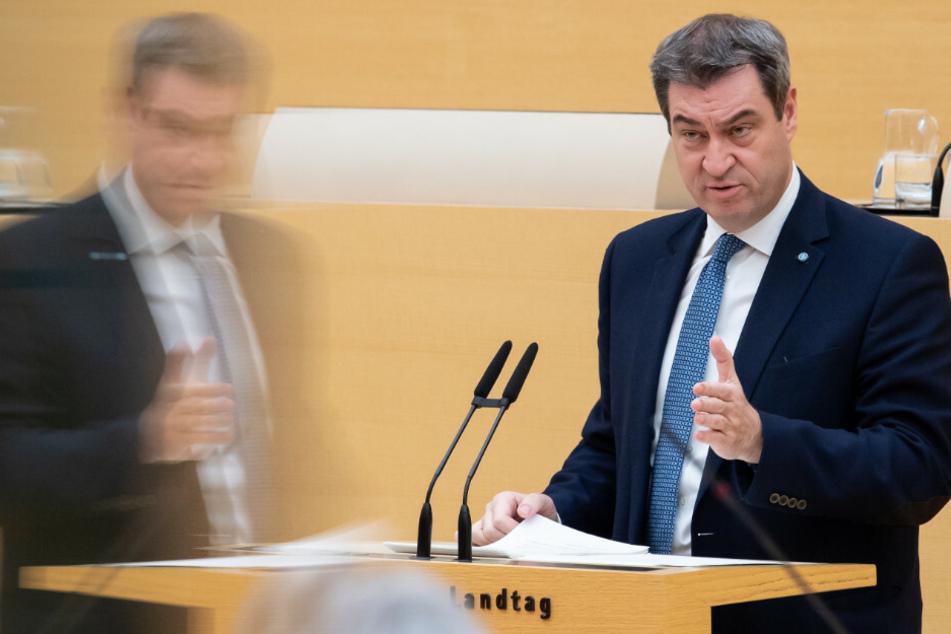 Markus Söder (54, CSU), Ministerpräsident von Bayern, spricht im bayerischen Landtag während einer Plenarsitzung.