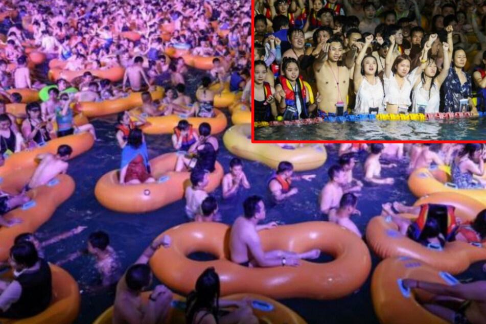 Massen-Poolparty in Wuhan schockt! Tausende Feierwütige nackt und dicht an dicht