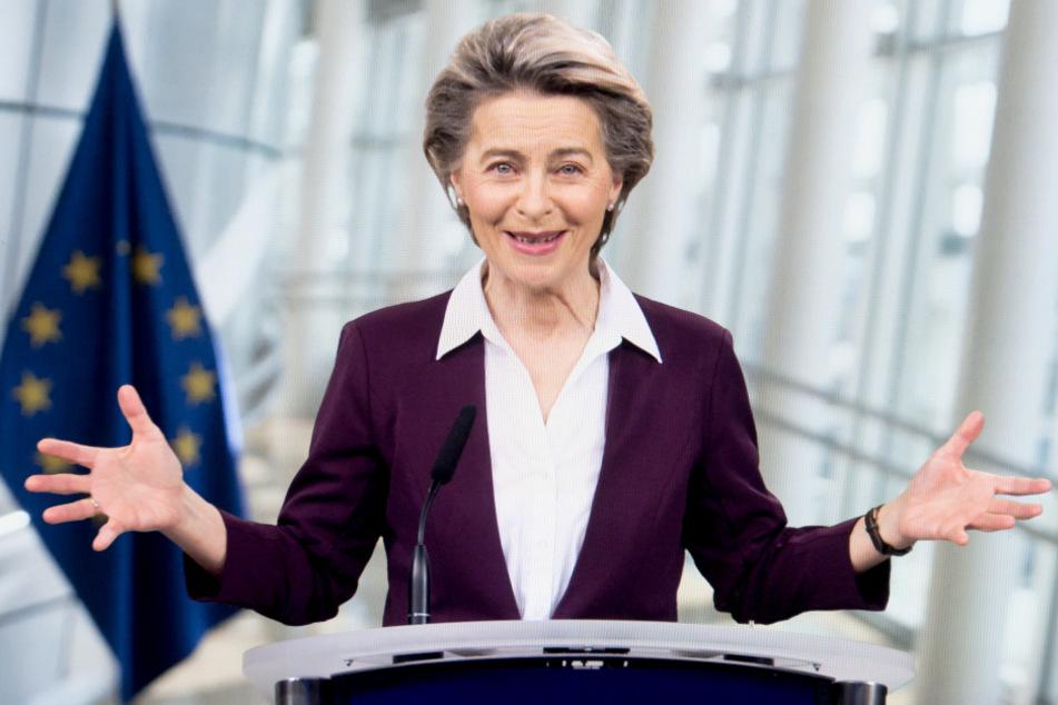 Ursula von der Leyen während einer Videokonferenz bei der Davos Agenda im Rahmen des Weltwirtschaftsforums.
