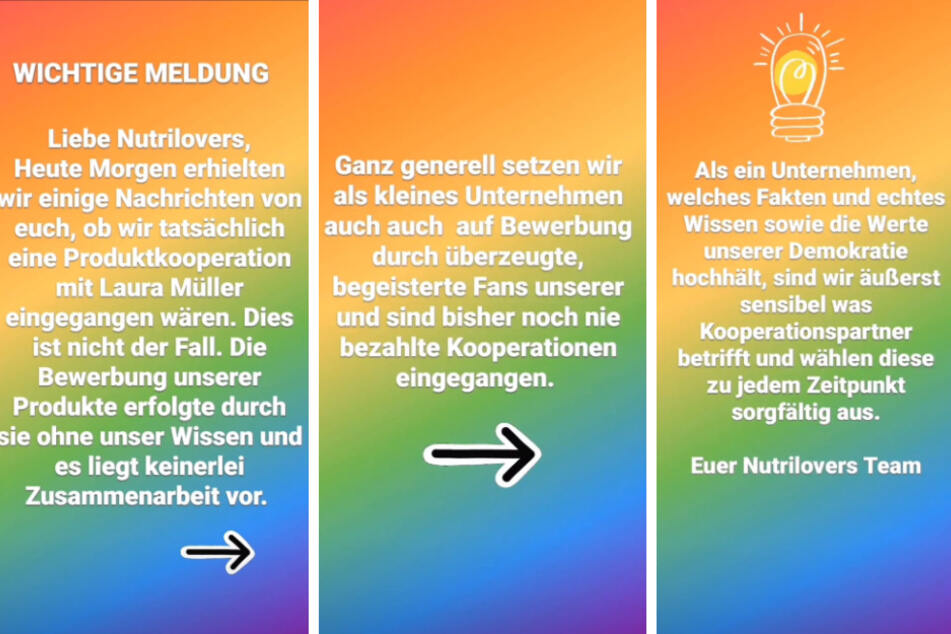 Die Firma Nutrilovers hat sich in einer Instagram-Story von Laura Müller (20) distanziert. (Fotomontage)
