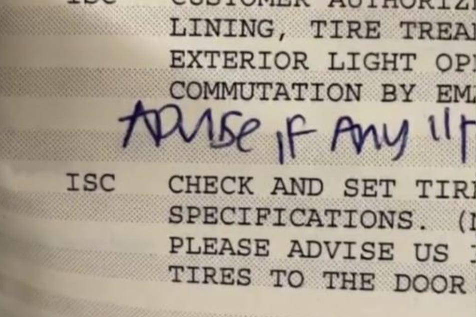 Dieser Kundenwunsch wurde handschriftlich eingetragen.