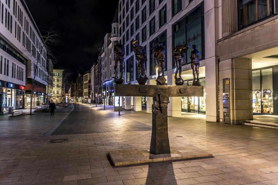 Gähnende Leere in der Leipziger Innenstadt.