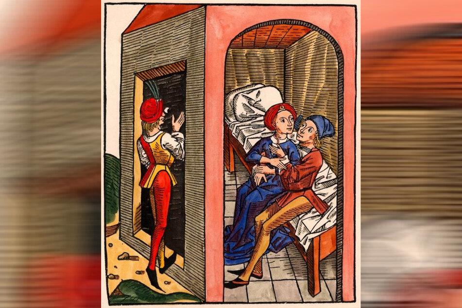 Galante Damen, geile Herren: Das Geschäft mit der käuflichen Liebe florierte schon im Mittelalter - auch in Dresden. Holzstich einer zeitgenössischen Anbahnungsszene.