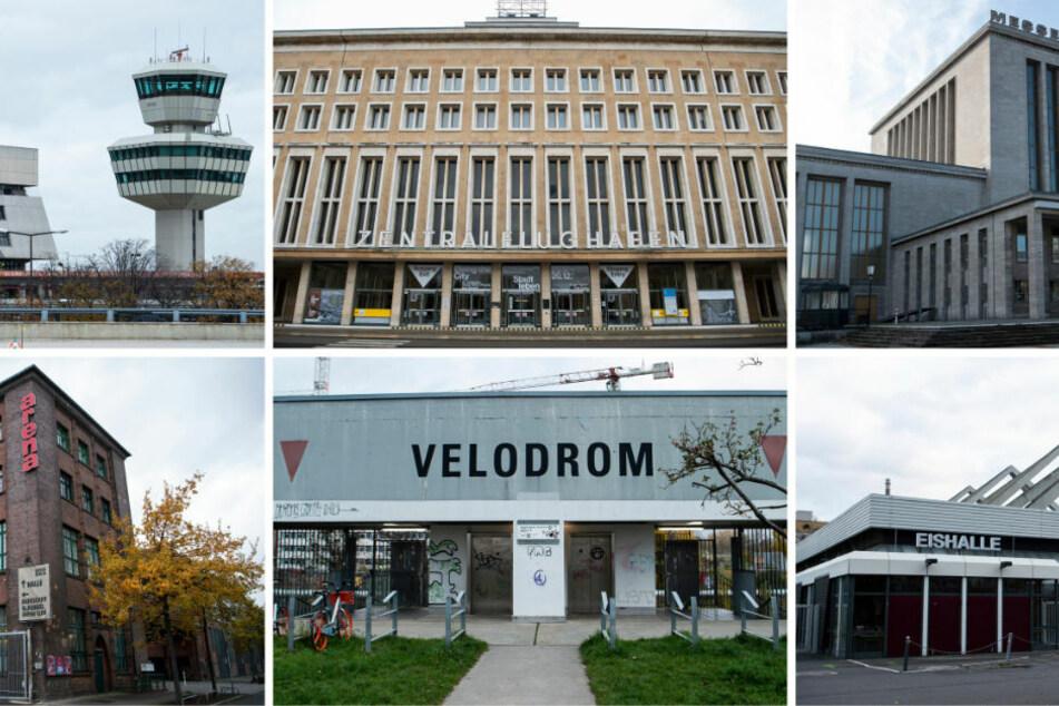 Die sechsteilige Bildkombo zeigt die sechs Berliner Impfzentren an den ehemaligen Flughäfen Tegel und Tempelhof, der Messe Berlin; (oben v.l.n.r.), der Arena Berlin, dem Velodorm sowie dem Erika-Hess-Eisstadion (unten v.l.n.r.).