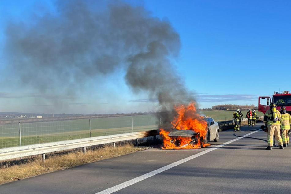 Am Mittwochvormittag ist auf der A72 ein Auto in Brand geraten.