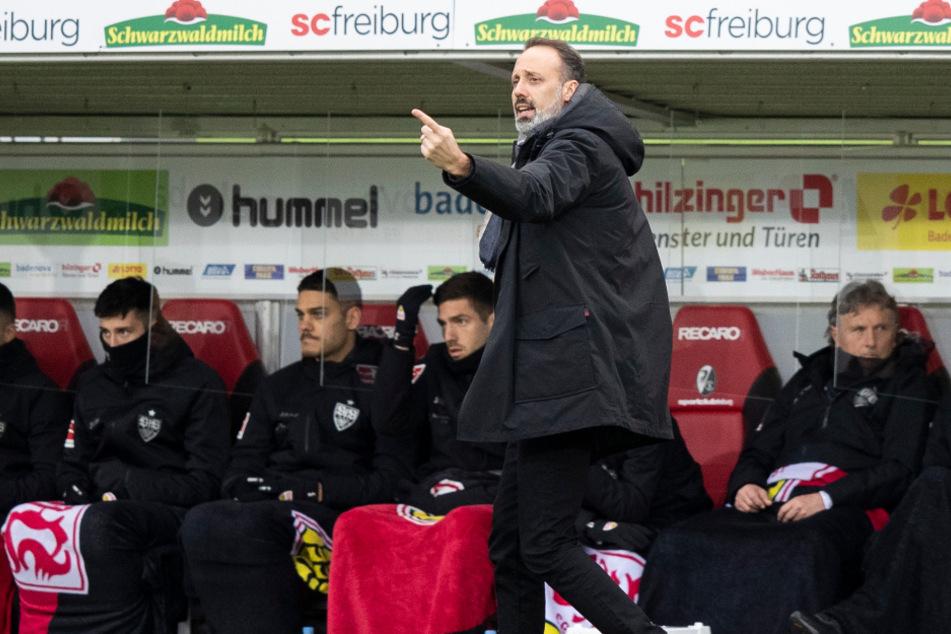 VfB-Coach Pellegrino Matarazzo (vorne) dirigiert seine Mannschaft.