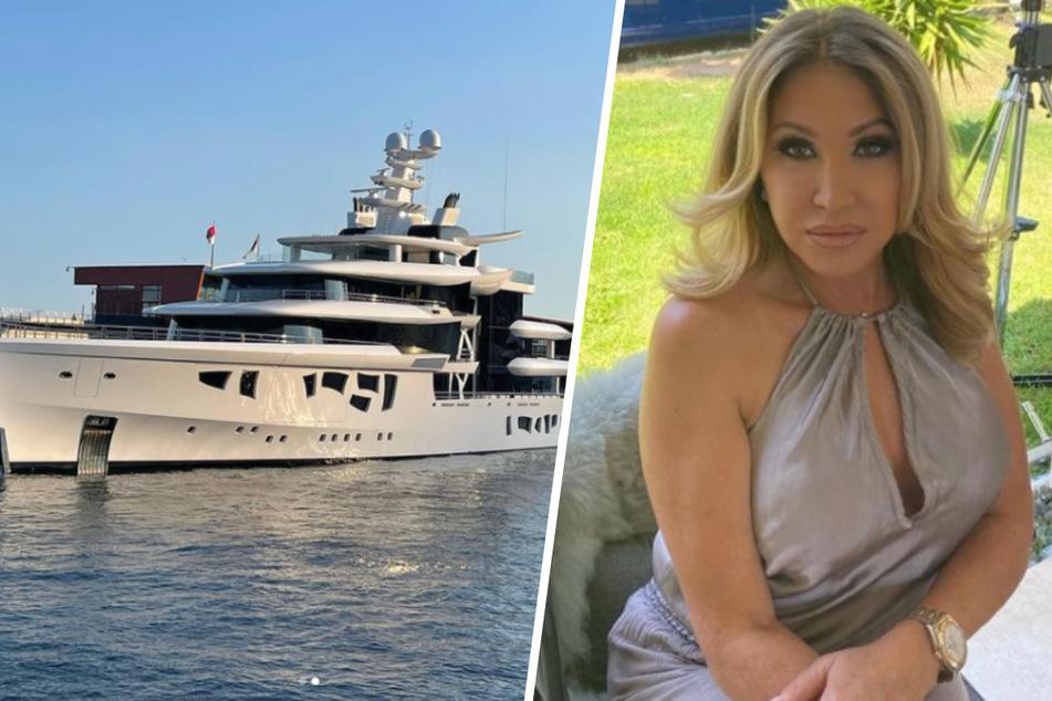 """High-Society-Lady Carmen Geiss (56) geriet beim Anblick der modernen Super-Yacht """"Artefact"""" im Hafen von Monaco ins Schwärmen."""