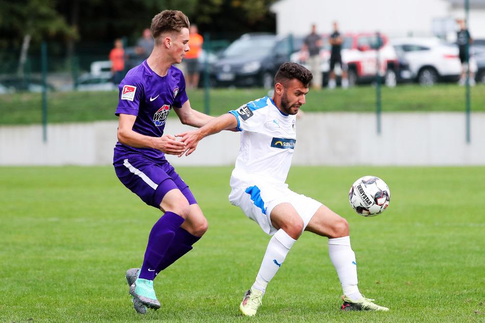 Elias Löder (21, l.) wurde beim FC Erzgebirge Aue ausgebildet, schaffte den Sprung ins Profiteam aber noch nicht.