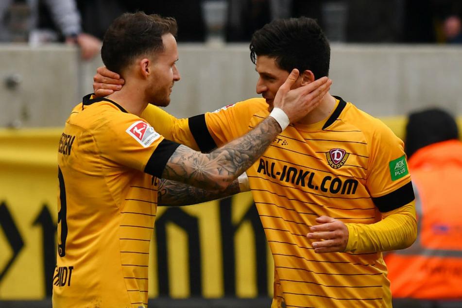 Patrick Schmidt (l.) und Jannis Nikolaou spielten sich trotz des Dynamo-Abstiegs ins Blickfeld.
