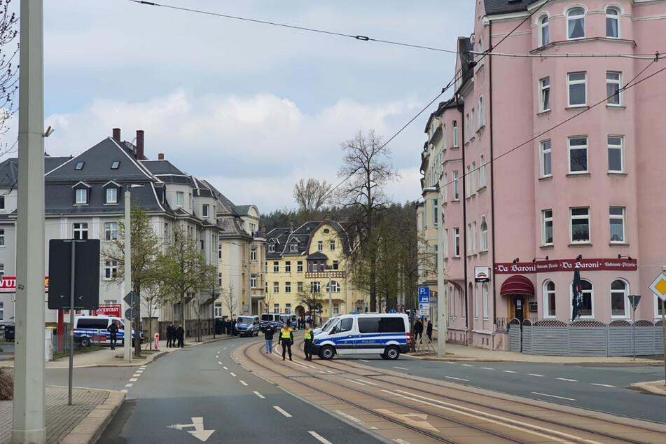 Polizeisperrungen in Plauen.